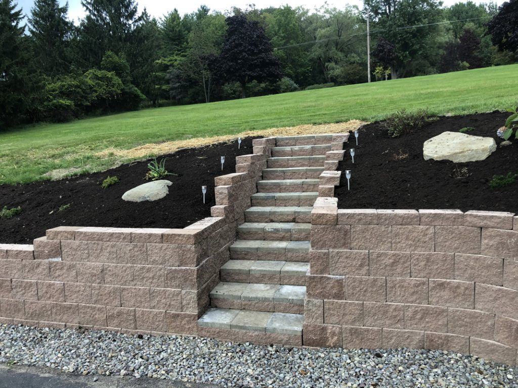 Landscape Retaining Wall step installation